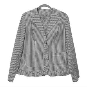Peck & Peck Weekend Gray and White Striped Blazer